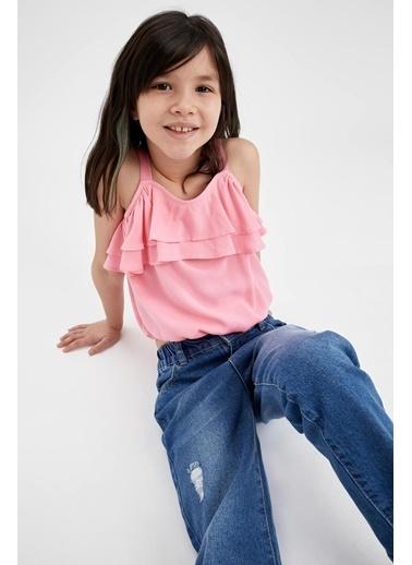 DeFacto Kız Çocuk Askılı Volan Detaylı Bluz Pembe